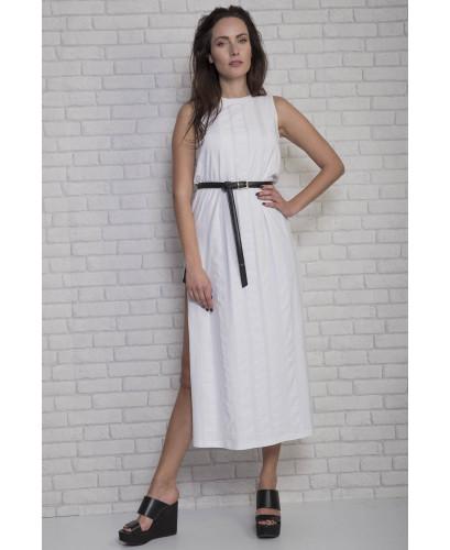 White maxi dress with chiffon