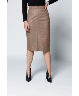 The Illusions Pencil Skirt-Brown