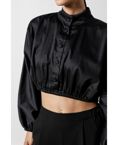 The Busty Crop Top-BLACK