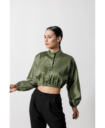 The Busty Crop Top-KHAKI