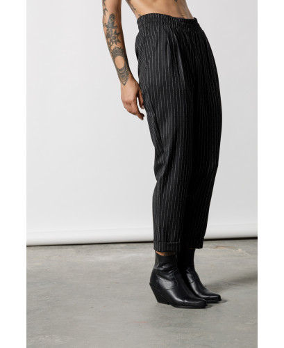 The Pinstripe Pants-BLACK