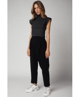 The Shoulder Padded Top-ANTRACITE