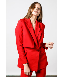 The Red Sleek Crop Jacket