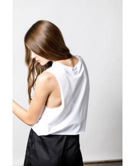 The White Logo Crop Top