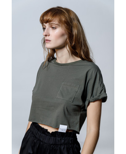 The Easy Crop top-KHAKI