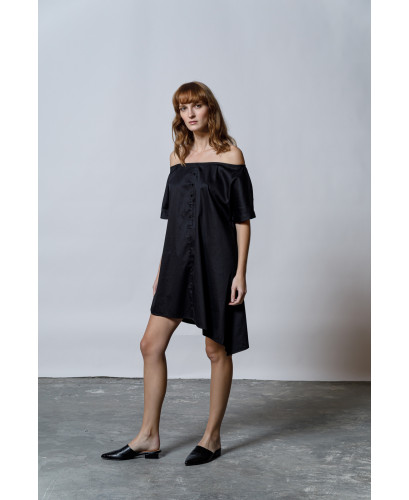 The Off-Shoulder Dress-BLACK