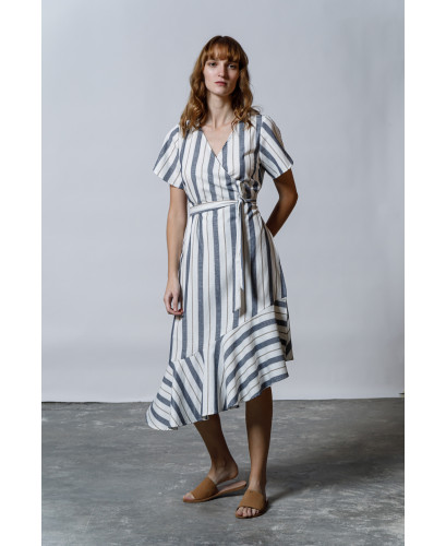 The Olive Dress-DENIM BLUE STRIPES