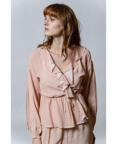 The Ruffle Shirt-ALLOVER ROSE