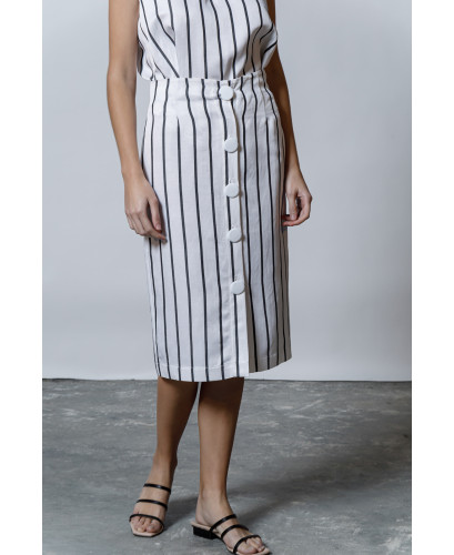 The Popeye Skirt-WHITE STRIPPED