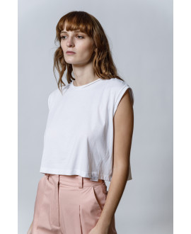 The City Crop Top-WHITE