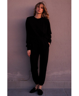 The Oversized Padded Sweatshirt - BLACK